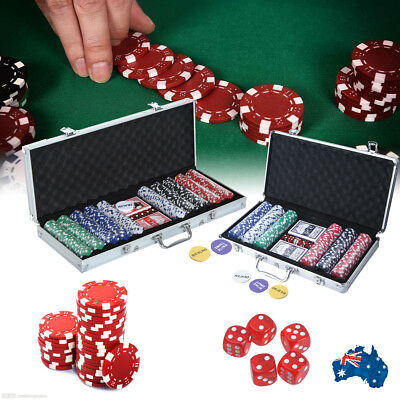 Pro Casino Poker Set 300/500 Chips with Carry Case and Accessories AU