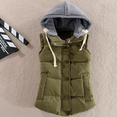 Winter New Women's Slim Waistcoat Cotton Coat Vest Padded Warm Hooded Jacket