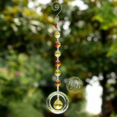 Yellow Octagon Bead Crystal Hanging Prism Suncatcher Garden Home Decor Lady Gift