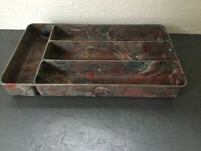 Vintage Bakelite or Early Plastic Cutlery Holder Tray  Marble Effect Beautiful