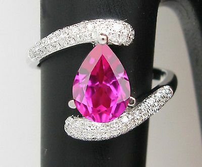 14KT White Gold 1.85 Carat Natural Pink Tourmaline EGL Certified Diamond Ring