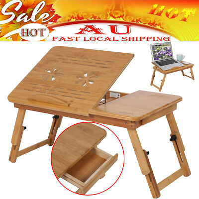 AU-Folding Wood Bamboo Laptop Table Desk Notebook Book Reading Bed Tray Stand