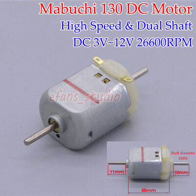 Mabuchi 130 Motor DC3V~12V 26600RPM High Speed Dual Shaft Motor DIY Toy Car Boat