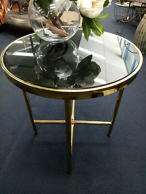 Side Table Gold Frame Black Glass Top Coffee Lamp Table