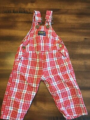Vintage Osh Kosh Original Red White Blue Plaid Overalls Size 12mos