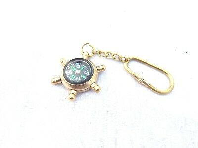 Vintage Car KeyRing Antique Brass Compass Key Chain Man Women Gift Outdoor Sport