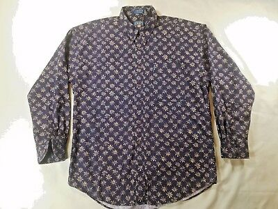 Vintage 90S Chaps Ralph Lauren  All Over Print Button Up Shirt Polo Xl