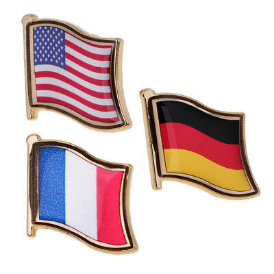 3 National Flag Pin Badge for Man Woman Lapel Badge Decoration Country Pride