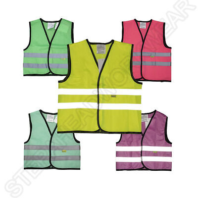 Hi Viz Kids Boys Girls Baby Fluorescent Printed Outdoor Safety Vest Waistcoat.