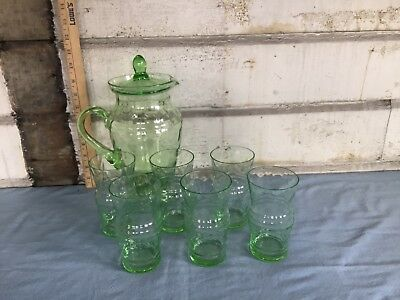 Antique Vaseline glass Lemonade set with pitcher and 6 glasses very nice