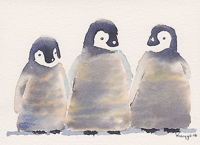 PENGUINS ( What's up wi im? He's bored).  ORIGINAL  PAINTING.  PHILIP KNAGGS