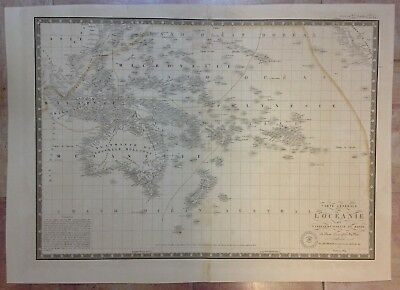 Oceania Australia New Zealand 1834 By Brue Large Antique Copper Engraved Map