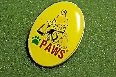 PAWS Lapel Pin Back Service Dog And Disabled Wheel Chair Bound Man Rescue Center