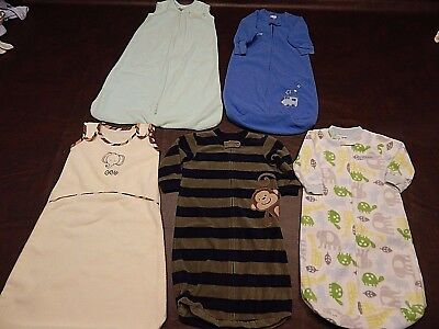 5 pc Baby Boy/Girl Fall and Winter Sleep Sack Lot  Size 0-6 months  0-18 LBS