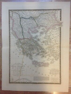 Greece Albania Macedonia Turkey Dated 1844 By Brue Large Copper Engraved Map