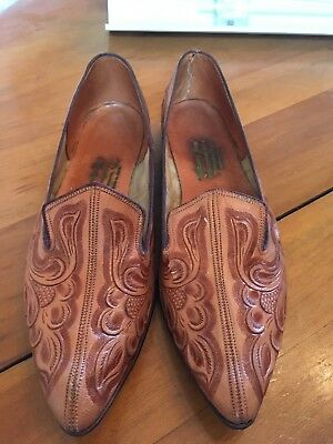 1960's Vintage Hand Tooled Leather Tamps Mexico Smoking Shoes Lady Size 8