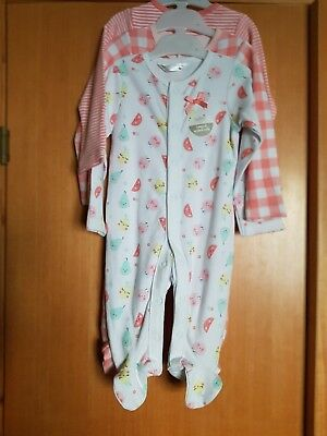baby girl 3-6 months sleepsuits×3 m&co