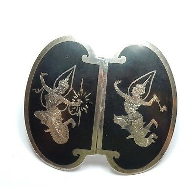 Vintage 925 Sterling Silver Large Enamel Siam Niello Belt Buckle 59.5g