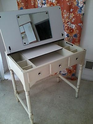 Vintage 1960s Ethan Allen Vanity - Cream Color - Mirror - Can be used as a Desk