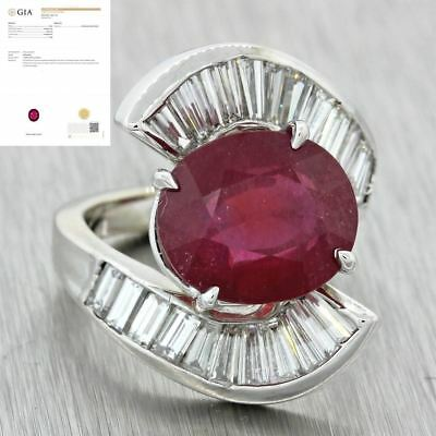 Vintage Estate 18k Solid White Gold 10.43ctw Ruby Baguette Diamond ByPass Ring