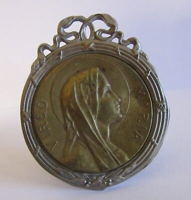 Antique French Louis XVI Religious Holy Mary Reliquary Frame Signed Ruffony