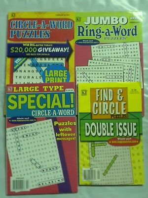 Lot of 4 Different Circle A Word/ Find & Circle small size Puzzle books Lg Type