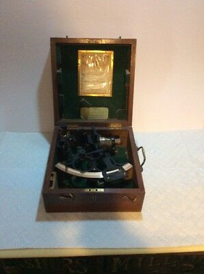 Original Vintage Cased Henry Hughes Sextant Requires Cleaning, Ship Marine Boat