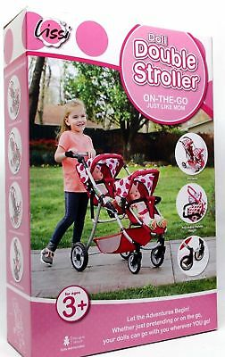 Lissi Doll Double Stroller Fits 2 Dolls Color:pink Polka Dots New In Box