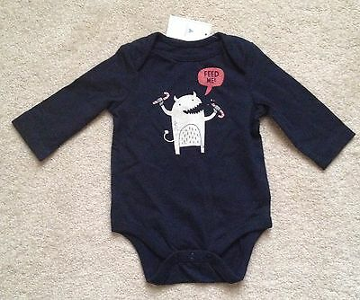 NEW - BabyGap Navy Blue Long-Sleeve Candy Cane Monster Bodysuit (0-3 months)
