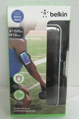 Belkin Sport-Fit Plus Armband for Galaxy S7 Edge +, Note 5, or Note 4 - Black