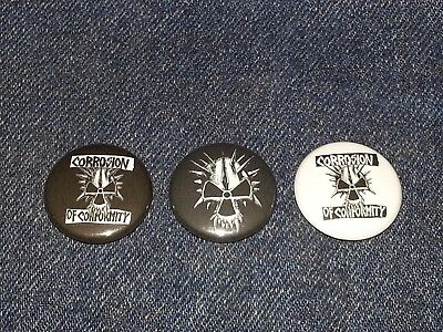 """corrosion of conformity set of 3 1"""" inch button pin back punk"""