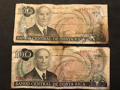 Costa Rica 100 Colones April 1987 And November 1988 Series E (two Bills)