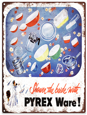 Pyrex Ware Bride Dishes Color Advertising Ad Baked Metal Repro Sign 9x12 60153