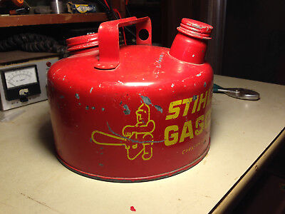 Stihl fuel can metal gas vintage chainsaw 1 gallon gasoline can chain saw Rare