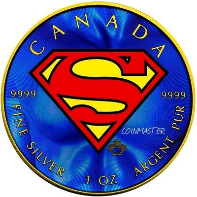 2016 1 Oz Silver Colorized SUPERMAN Coin, 24kt Gold Gilded.