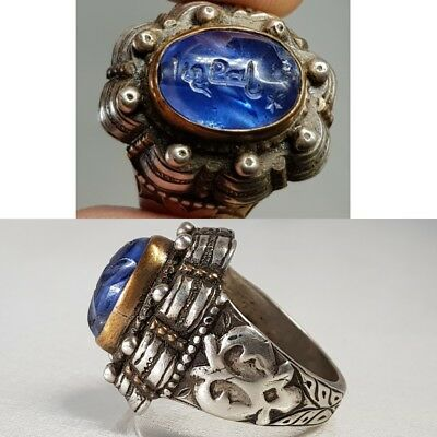 Ancient Sapphire Stone Solid Silver Writing on stone RING