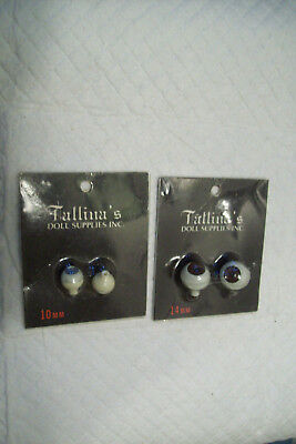 2 Pair Of New Packaged Tallina's Acrylic Doll Eyes ..Brown 14mm..Blue 10 mm