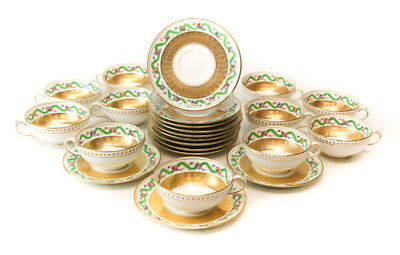 12 Minton for Tiffany & Co Demitasse Gilt Porcelain Cup & Saucers, c. 1900