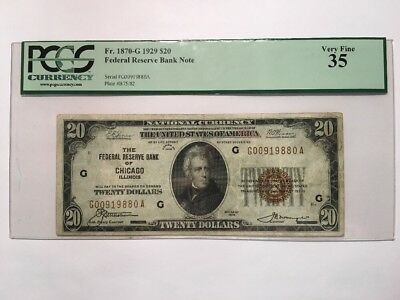 1929 $20 Twenty Dollar Bill National Currency Brown Seal Note - PCGS VF 35