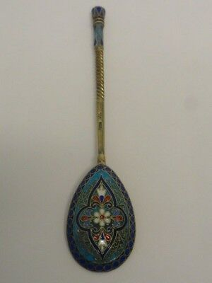 Antique Russian silver 84 cloisonne enamel spoon by Ivan Saltykov. 5.25 inches