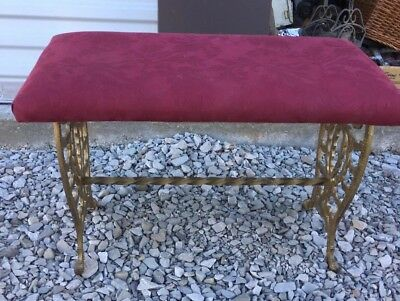 Vintage Gold Painted Cast Iron Upholstered Antique Bench Foot Stool