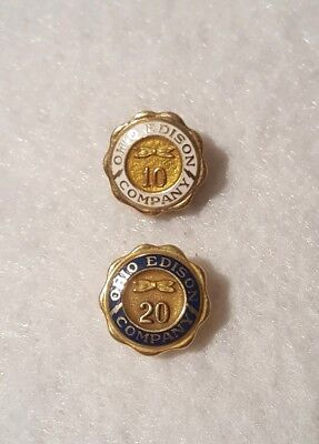 2 VINTAGE OHIO EDISON LAPEL PINS 10 year & 20 year 14K gold