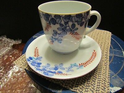 Vintage Cup and Saucer White Blue Red Flowers See Desc n Pics (#17)