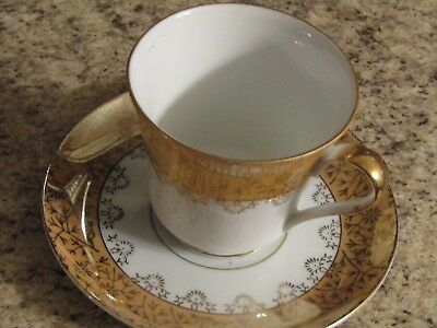 Vintage Cup and Saucer White with Gold Accents See Desc n Pics (#15)