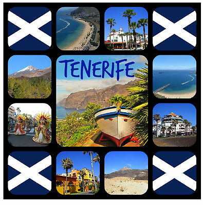 Tenerife - Souvenir Novelty Square Fridge Magnet - Gifts / Sights / Flags / New
