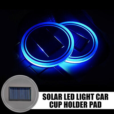 2x Solar Energy Cup Holder Blue LED Light Bottom Pad Mat Cover Trim For All Cars