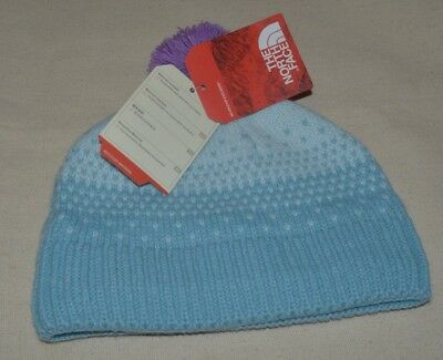 The North Face Girl's Youth Pom Pom Beanie Snow Winter Hat Grey Size M NEW