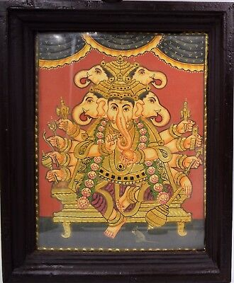 Tanjore Painting South INDIA GOLD Foil Poured Glass Panchamukhi Ganesha Framed 2