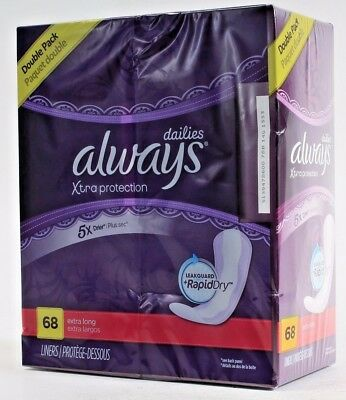 Always Dailies Xtra Protection Leak Guard & Rapid Dry 68 Extra Long Liners