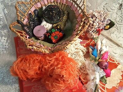 Victorian Basket With 13 Pieces-Lace-Trim-Flowers-Ostrich Feather-Bead Work